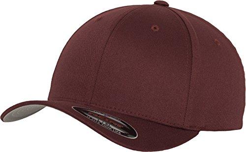 Flexfit Unisex Wooly Combed Unisex Kappe ohne Verschluss für Herren, Damen und Kinder Wooly Combed Baseball Cap, maroon, L/XL (Herstellergröße: L/XL)