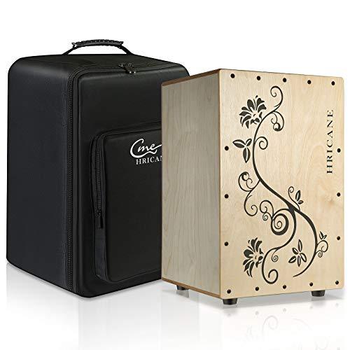 Hricane Cajón de percusión natural, incluye mochila XDrum, cajón de percusión de madera de...