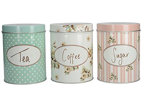 Katie Alice Cottage Flower dreiteiliges Set mit großen Kaffee-, Zucker- & Tee-Aufbewahrungs-Dosen - 4,21 x 5,1 (10,7 x 13 cm)