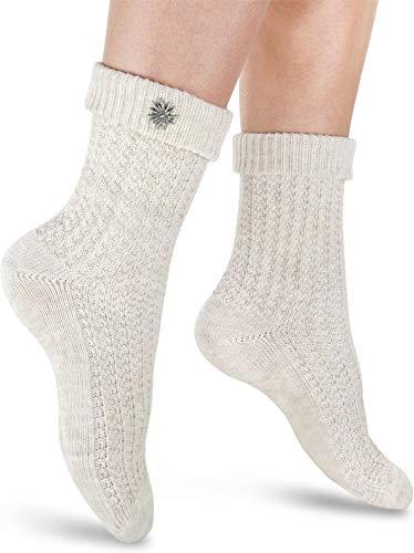 Circle Five 2 Paar Trachten Socken mit Edelweiß-Pin oder Knopf, Socken für Damen und Herren inSilber- oder Naturmelange Gr. 35-50 Farbe Naturmelange mit Edelweiß-Pin Größe 35/38