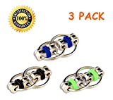 (3 Pack) Fidget Flippy Bike Chain Toy Relieves Stress, Anxiety and Boredom at Work, Home or School (Green/Blacklue/)
