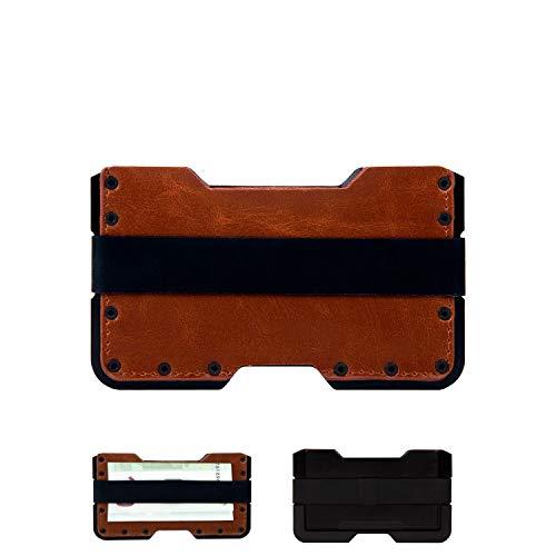 Tarjetero metálico con Bloqueo RFID para Hombre y Mujer. Cartera metálica con Cuero PU marrón pequeña, Fina y Minimalista. Tarjetero antirrobo de diseño Diferente. GOANSEE