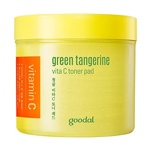 Goodal Green Tangerine Vitamin C Toner Pads with '5-IN-1' Effect | Exfoliates, Tones, Brightens, Moisturizes, and Clears Sensitive Skin (70 PADS)