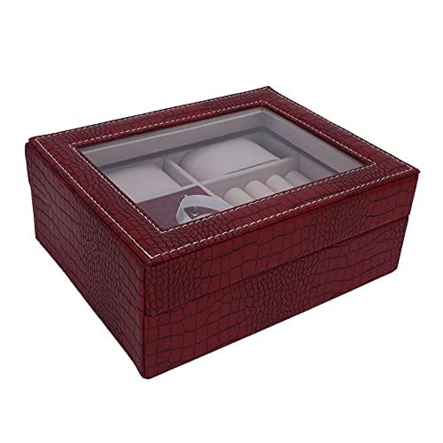 Caja de almacenamiento de exhibición de joyería de reloj, con cierre de tapa abatible, caja de pulsera, bandeja de cuero de PU, almohada de reloj extraíble, rojo azufaifo, para collar, aretes