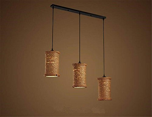 AI LI WEI Juan mooie lampen/binnenverlichting kroonluchter bevestigingen hennep breien kroonluchter hanger industrie vintage slaapkamer woonkamer restaurant loft plafondlampen, B