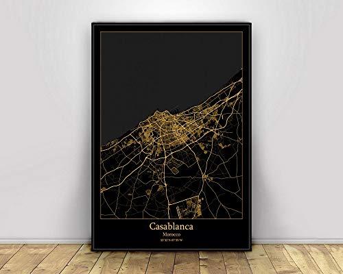 Impresión De Lienzo, Casablanca Marruecos, Mapas De Luz De La Ciudad Negros Y Dorados, Carteles De Mapas De Ciudades Del Mundo Personalizados, Impresiones En Lienzo, Arte De Pared De Estilo,60X90Cm
