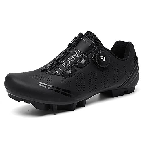Zapatillas de Bicicleta de Montaña Antideslizantes para Hombre Mujer Zapatillas de Ciclismo MTB Transpirables Profesionales Compatibles con SPD Black 260
