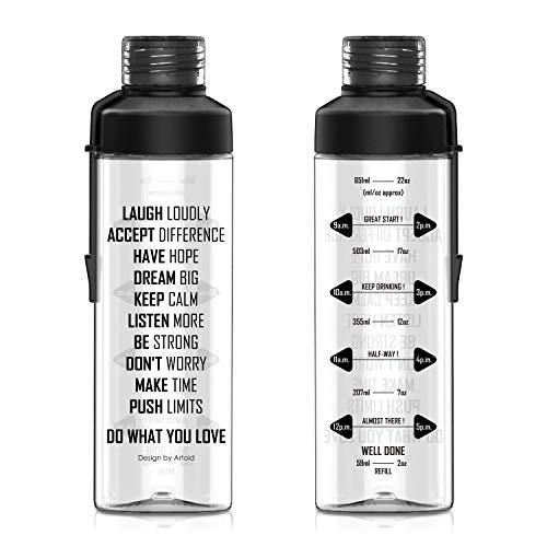 Artoid Mode 750ml Trinkflasche mit Trinkerinnerung | Tritan Flasche, BPA frei, auslaufsicher Wasserflasche mit Maßeinheiten | ideale Sportflasche für Sport, Fitness, Yoga, Reise & Schule