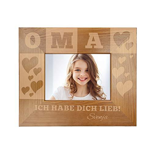 Casa Vivente Bilderrahmen mit Gravur für Oma, Motiv Herzen, Personalisiert mit Namen, Rahmen aus Holz, Muttertagsgeschenk