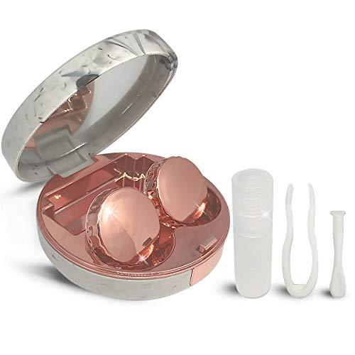 baisheng Mini Travel Simple Kontaktlinsenbehälter Box Container Halter Round Rose Gold