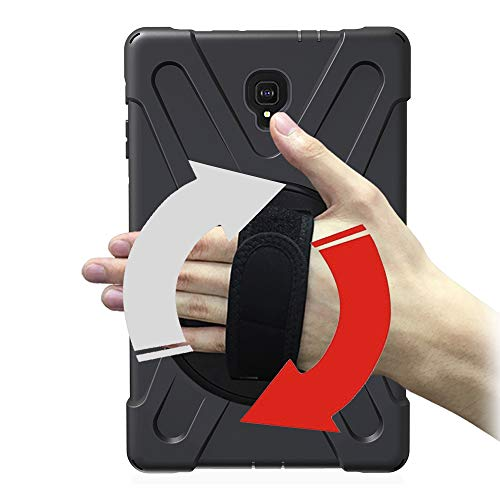Junfire Hülle kompatibel für Samsung Galaxy Tab A 10.5, T590, T595 case mit 360 Grad drehbar mit Ständer, Handgurt und Schultergurt,Multiple Schicht-Hybrid-SchwerLast-Schock Hülle Schwarz