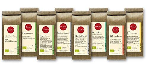 Tee Geschenkset Tee Probierset Biotee - Quertee® Nr. 1 - 8 x 25g Bio Tee als Tee Geschenk - 200 g Biotee - Güntee | Schwarztee | Früchtetee | Kräutertee | Rotbusch Tee