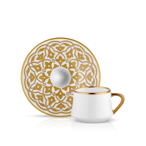 Koleksiyon Espresso-/Mokka-Tasse und Untertasse aus Bone China Porzellan mit Goldener Tulpenverzierung 90 ml 6er Set
