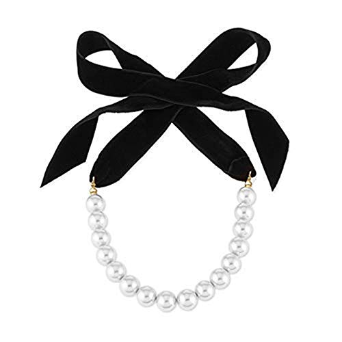 Punk Long Wide Black Velvet Ribbon Choker Bow Tie Simulated Pearl Beads Charm Collar Necklace Gothic Jewelry New Year Gifts (Black)
