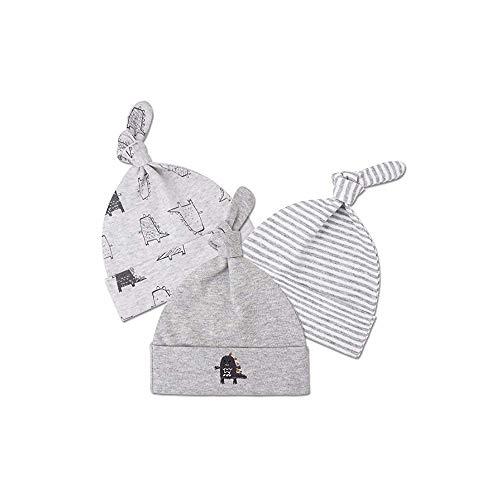 El bebé recién nacido del algodón del sombrero de la gorrita tejida del sueño infantil de las muchachas de los muchachos unisex ajustables nudo Cap los 0-6M 3 pcs