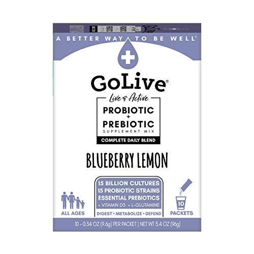 GoLive Probiotic Supplements for Adults and Kids, Bluebery Lemonade, 10ct- Prebiotics for Gut and Digestive Health, Recommended by Doctors and Dietitians