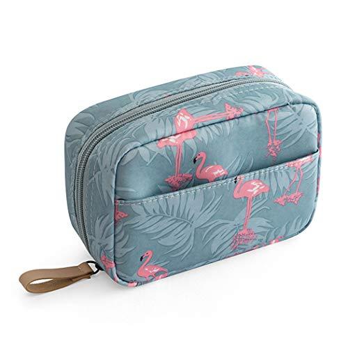 Laahoem Trousse de Toilette de Voyage Organisateur Cosmétique de Maquillage Flamant Rose sac de Lavage portable étanche pour Femmes Filles Blue