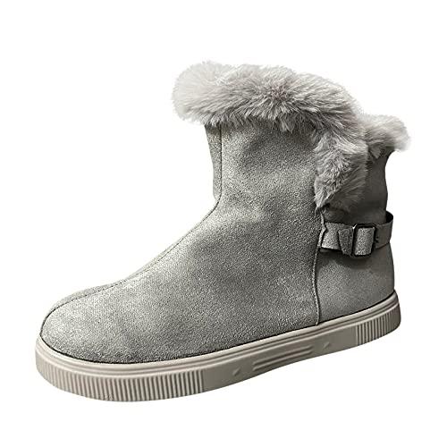 Stivali da donna sopra al ginocchio, caldi e invernali, con chiusura lampo laterale, in pizzo, alla moda (stivali donna H20-Gray,39.5)