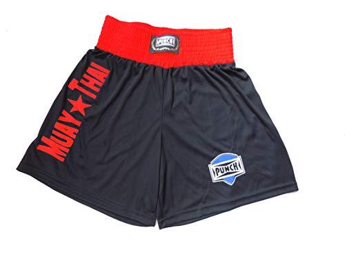 Shorts Muay Thai Com Silk Port. - Grande Punch Unissex G Preto Com Vermelho