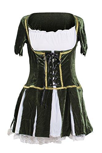 Schickes Robin Hood Kleid Kostüm von Emma's Wardrobe – Beinhaltet grünes Kleid und Hut mit künstlicher Feder – Robin Hood Kostüm oder Peter Pan Kostüm für Halloween oder Junggesellinnenabschiede – EU Größen 34-43