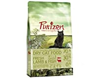 Purizon 6.5kg is a premium complete dry food for adult cats of all breeds and sizes. 70% carefully selected meat and fish 30% fruit, vegetables and herbs Instead of grains or rice, Purizon uses quality fruit, vegetables and herbs that provide importa...