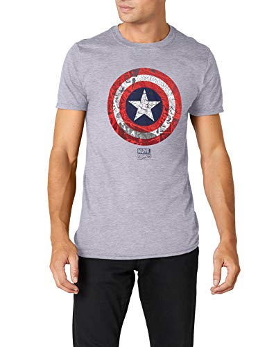 Marvel Herren Ca Comic Shield T-Shirt, Grau (Sports Grey), M