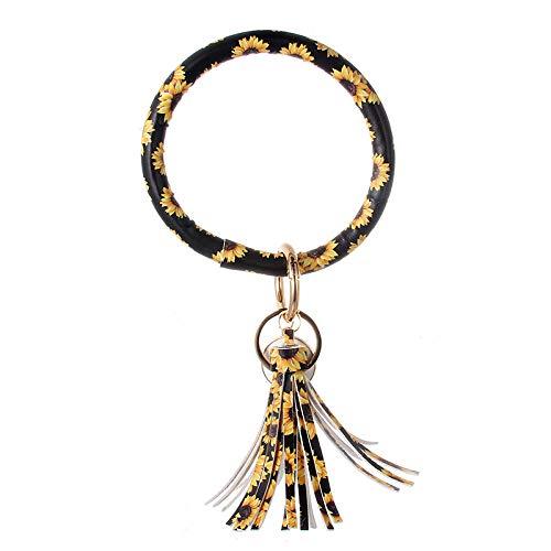 SevenShop 2 stücke Pu-Leder O Schlüsselanhänger Kreis Armreif Schlüsselanhänger Quaste Schlüsselbund Armband Armband Schlüsselanhänger Kreis Schlüsselanhänger Halter für Frauen Mädchen 3#