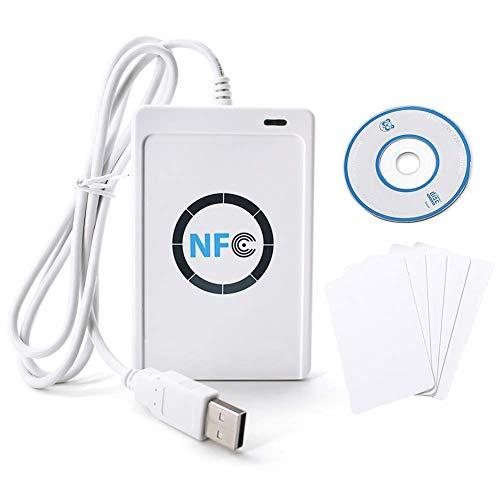 NFC RFID NFC Lesegerät RFID Reader Kartenleser Leser/Schreiber ACR122U ISO 14443A / B + Freie Software in Weiß