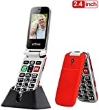 Artfone Teléfono Móvil para Personas Mayores Teclas Grandes para Mayores, Fácil de Usar para Ancianos, con MMS, SOS Botón, Cámara, 2,4 Pulgadas,con una Base de Carga,Artfone Flip CF241A - Rojo