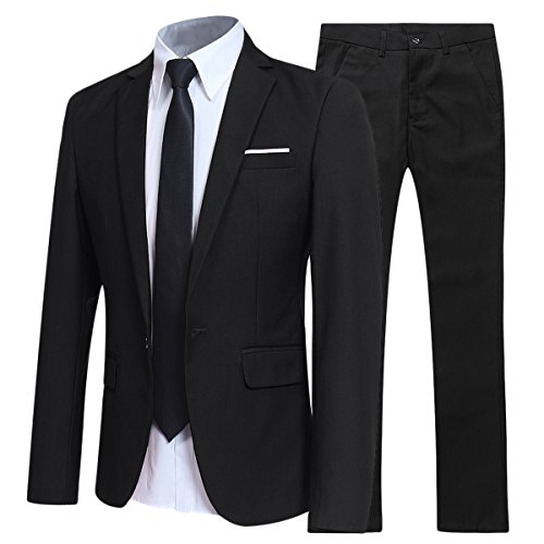 Slim Fit 2 Piece Suit For Men One Button Casual/Formal/Wedding Tuxedo,Black,Large