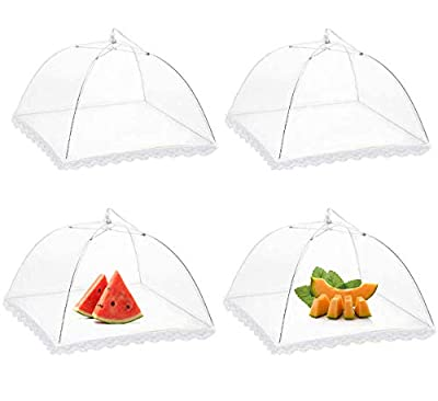 """Wocst 17"""" x 17"""" Large Pop up Mesh Screen Food Cover Tents?Reusable and Collapsible Outdoor Picnic Food Covers Mesh (White Set of 4)"""