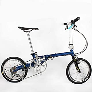 JIASHANHAO Folding Bike 16 Inch FGC 1609 Ultra Light 9-Speed Chrome Molybdenum Steel Retro Scooter Leisure Bicycle (Color...