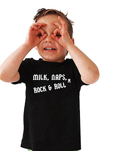ROCK N ROLL Camiseta para niños y niñas | MILK, NAPS, ROCK & ROLL l T Camiseta, parte superior de metal gótico, baby shower, camisas de bebé, regalos de 1st cumpleaños (1-2Años)