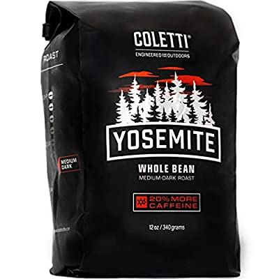 COLETTI Yosemite Camping Coffee Roast – Whole Bean Coffee – Dark Roast Coffee with Organic Coffee Beans and 20% more Caffeine – A Strong Camp Coffee