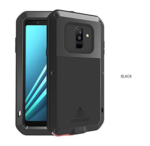 LOVE MEI para Samsung Galaxy A6 Funda, a Prueba de antigolpes Cubierta de la Caja de Metal Aluminio a Prueba de Polvo/Suciedad/Snow Impermeable Cáscara para Samsung Galaxy A6 5.6 Pulgada 2018 (Negro)