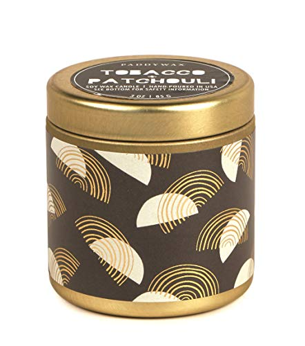 Paddywax Kaleidoscope Collection Scented Travel Tin Candle, 3-Ounce, Tobacco & Patchouli