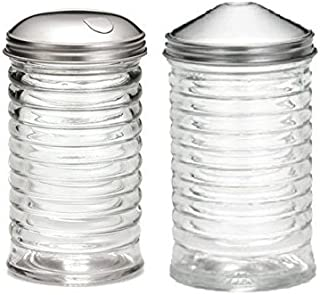 (Set of 2) Beehive Sugar Pourer and Powdered Creamer Dispenser Set, Glass with Stainless Steel Lids 12 ounce