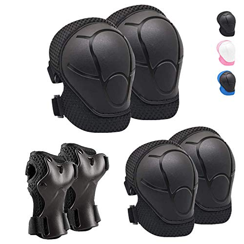 Linda Kids/Youth Knee Pad Elbow Pads Guards Protective Gear Set for Roller Skates Cycling BMX Bike Skateboard Inline Skatings Scooter Riding Sports (Black)
