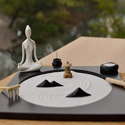 AMYZ Meditación Jardín Zen,Meditación Jardín Zen Jardín Zen Sala de Estar Escritorio Estudio de Yoga Meditación Micro Paisaje Paisaje seco Estilo japonés Adornos de Feng Shui Conjunto de decoraci