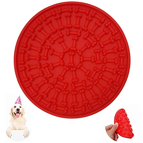 Helpcook Dog Lick Pad, Dog Washing Distraction Device,Pet Bath Grooming Helper,Slow Treat Dispensing Mat-Super Strong Suction Force-Just Add Peanut Butter to Make Bath Time Funny(Red)