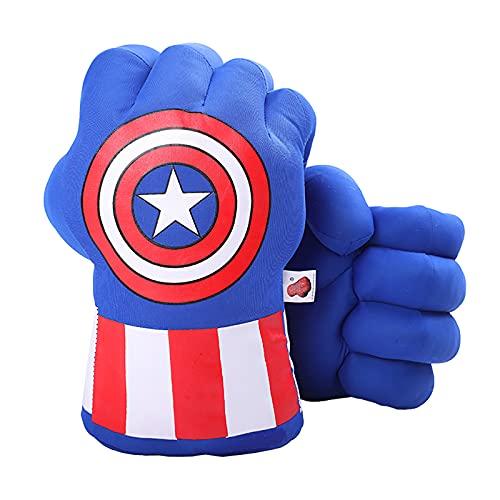 DDGOJUME Big Captain America Hands, 1 Paar weiche Captain America Boxhandschuhe Faust Hand Plüsch Unglaubliche Kostspielige Geschenke (Blau)
