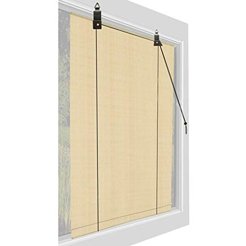 LSM Roller Blind Premium Window Shades Roller Blinds, Beige Exterior Door Curtain Outdoor Sun Shade 60/80/100/120 cm, Easy to Install & Roll (Size : 80 × 200cm)