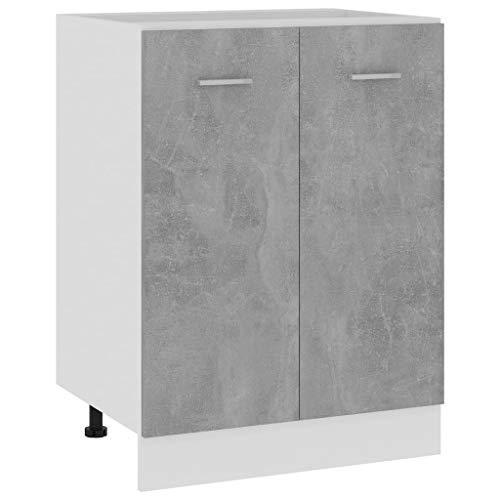 vidaXL Armario de Cocina Muebles Mobiliario Duradero Mesa Trabajo Almacenamiento Cuenco Plato Olla Alacena de Aglomerado Gris Hormigón 60x46x81,5 cm