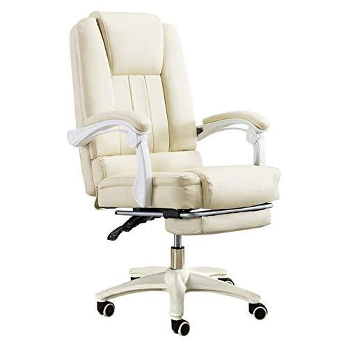 WYKDLas sillas de Oficina Asiento reclinable Juego E-Sports de Alta Volver PU Silla de la computadora de Escritorio con reposapiés ergonómico de Videojuegos Silla giratoria (Color : Beige)