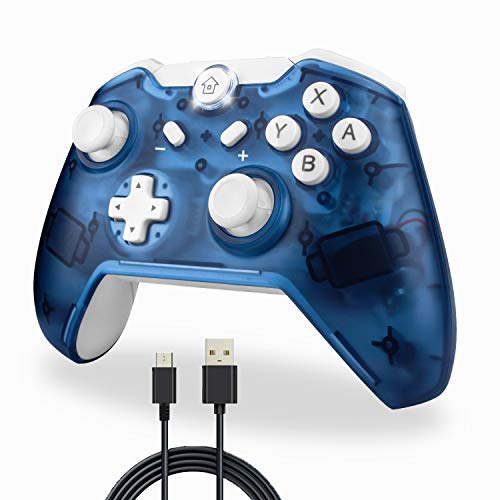 TechKen Wireless Switch Pro Controller, Bluetooth Switch Controller Kabellos Ersatz Gamepad Gaming Joystick Dual Shock Vibration Controller Game Zubehör für Switch Console (Bleu)