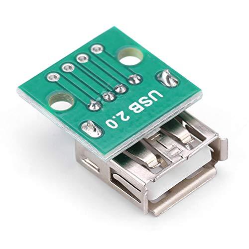 LANTRO JS - 10 pizas USB Breakout Board USB tipo A Hembra Socket 2.54mm Adaptador de Pitch Conector DIP Socket Breakout Board para DIY fuente de alimentación USB