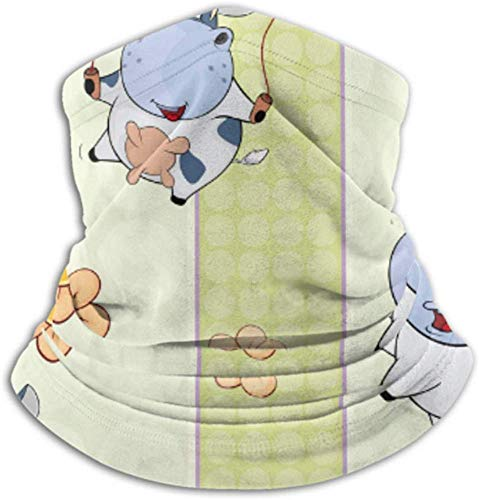 Teemoo Fleece-Nackenwärmer, Multifunktionsschal mit Kuhmuster, Vollmaske oder Hut, Nackenschutz, Nackenkappe, Skimaske, Halbmaske, Gesichtsmaske, Sturmhaube, He