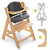 Hauck Hochstuhl Alpha Plus - Mitwachsender Kinderhochstuhl mit Gurt und Sitzkissen - Natur Jersey Charcoal