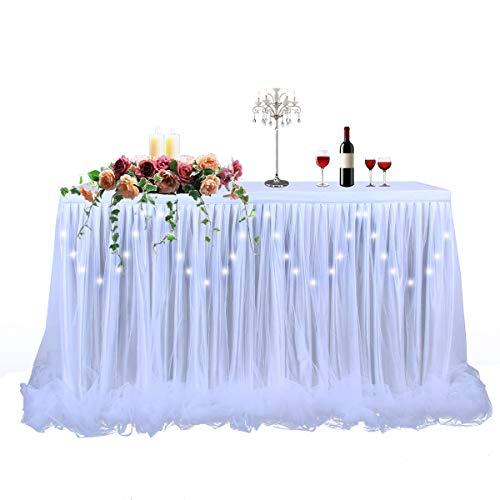 White Tulle Tutu Table Skirt for Baby Shower Wedding or Birthday Party,LED Table Skirt for Rectangle or Round Table(6 ft table skirt)