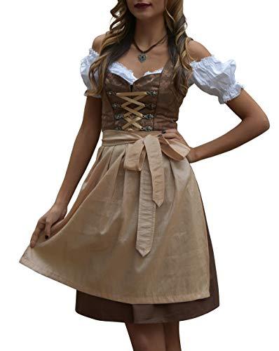 Golden Trachten-Kleid Dirndl Damen 3 TLG, Midi für Oktoberfest, mit Schürze und Bluse 488GT,Dunkelbraun,34